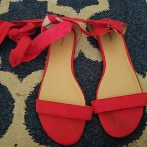 Express Shoes - Red lace up sandals